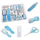 Prodotto per bambini Aspiratore nasale Kit per la cura del bambino Mangiatoia Clipper per unghie Baby Kit per la cura della salute e dei neonati per neonati Confezione regalo da 10 pezzi Blu