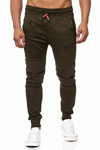 Pantaloni da jogging per uomo Sport Sweat Pant Camouflage Biker Knee H1973 Verde