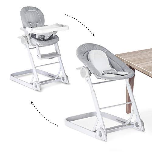 Hauck/Sit N Care/Chaise Haute Bébé 3 en 1/ Transat Bébé et Chaise pour Enfants/avec Position Couchée/Réducteur, Plateau Repas, Roues/Réglable en Hauteur/Évolutive/Pliable/Stretch Grey (Gris)