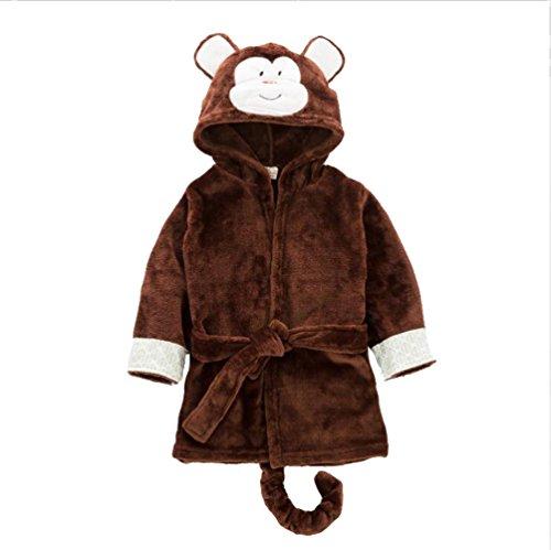 CuteOn Unisex Baby Kinder Karikatur Tier Flanell Kapuzen Bademantel Pyjamas Nachtwäsche Affe 120cm