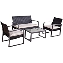 Jet-Line Conjunto de Muebles Juego de Muebles de Jardin Salamanca Negro Poli-ratán