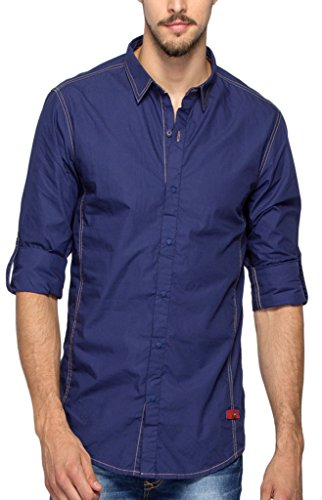 Spykar Mens Indigo Slim Fit Mid Rise Casual Shirts