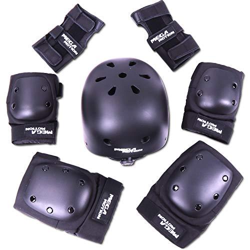 Mega Motion Einstellbare Sport Schutzausrüstung Schutz für die Sicherheitsabdeckung festlegen für Roller Fahrrad BMX Bike Skateboard Roller und andere Extremsportarten (Schwarz, L)