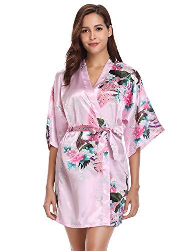 Vlazom Damen Morgenmantel Kimono Satin Robe Kurze Nachtwäsche Bademantel Peacock und Blume Sleepwear V Ausschnitt Bademantel Mit Gürtel - Satin Kurze Robe