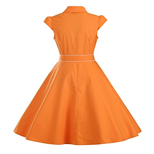 ZAMME Robe Vintage Vintage Rockabilly Solid Party Skater Robes Orange