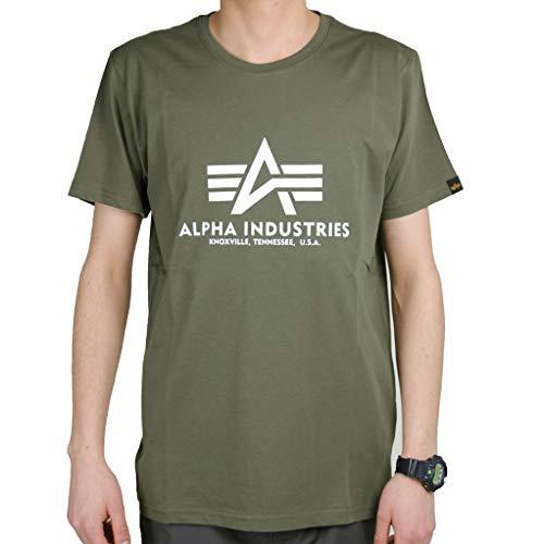 Alpha Industries Basic T-Shirt Grün/Weiß M - Green Heather-crew-t-shirt