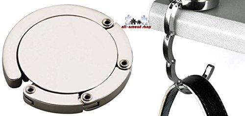 Metall Handtaschenhalter Taschenhalter - perfekt für unterwegs von all-around24® (Silber, Rund ca.45mm)