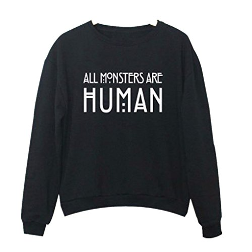 Ouneed® Sweat- Shirt Sweater Imprime Lettres Noir