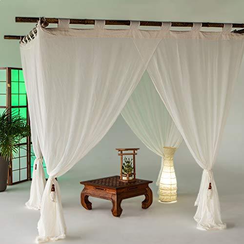 Bali4you bali4you.eu Indonesian LifeStyle Bali Baldachin Classic Creme 160x200 Moskitonetz 100% Cotton inkl. 4 Quasten Betthimmel