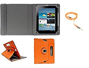 Gadget Decor (TM) PU LEATHER Rotating 360° Flip Case Cover With Stand For iBall Q7271-IPS20 + Free Aux Cable -Orange