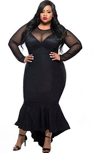 EOZY Femme Robe Queue Asymétrique Longue Manche Bodycon Perspective Noir