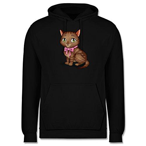 Katzen - Kätzchen mit Schleife - Männer Premium Kapuzenpullover / Hoodie Schwarz