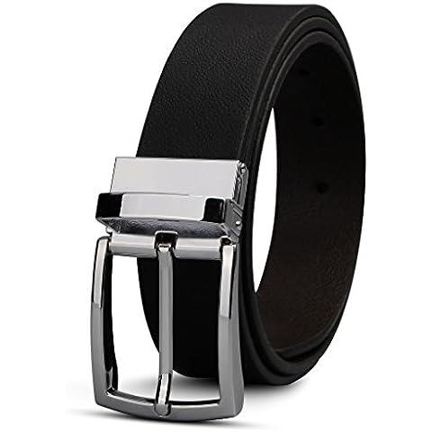 XIANGUO Cinturón Reversible De Cuero Negro Y Marrón Con Hebilla Plateada