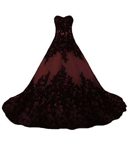 O.D.W Lange Spitze Vintage Brautkleider Frauen Gotisch Hochzeitskleider(Schwarz+Burgund, 32)