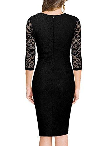 Miusol Damen Elegant Sommer Kleid Spitzen 3/4 Arm Wickelkleid Cocktailkleid Gold Gr.XXL - 3