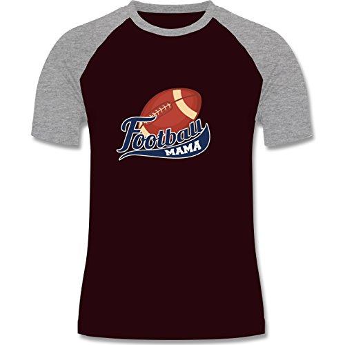 Sonstige Sportarten - Football Mama - zweifarbiges Baseballshirt für Männer Burgundrot/Grau meliert