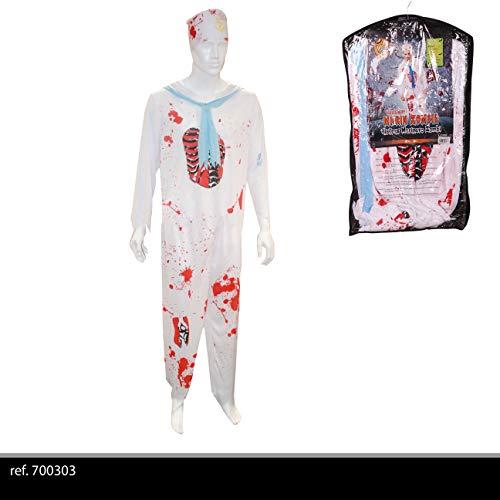 urban living Kostüm Marin Zombie für Erwachsene, Unisex, 700303, Weiß und (Marine Zombie Kostüm)