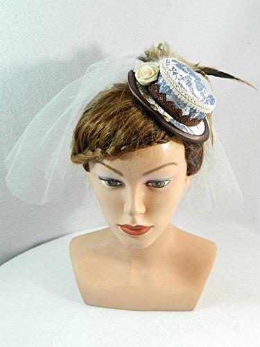 Mini Sommerhut braun blau Schleier Brauthut Damenhut Steampunk Braut Wedding Hat Bibi (Cue Spitze Kostüm)