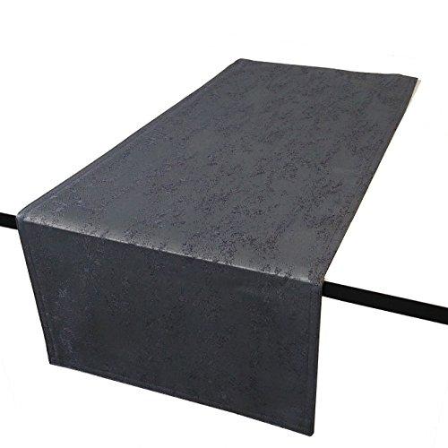 DecoHomeTextil Jacquard Tischdecke Granit Tischläufer Eckig Grau 40 x 100 cm Meliert mit Lotus Effekt Größe & Farbe wählbar - 40 X Tischdecke 40