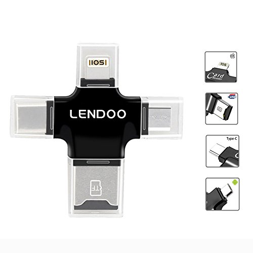 Price comparison product image LENDOO SD Card Reader 4in1 Lightning/Type-c/Micro USB/USB 2.0 External Storage Memory Expansion Flash Drive for Android IOS iphone 6 7 7S OTG iPad PC Macebook Tablet (Only Card Reader)