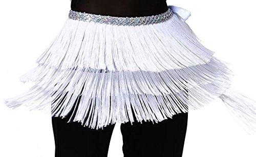 (Hüfttuch Bauchtanz Tuch Samba Rock mit Fransen Tanz Kostüm Weiß S M)