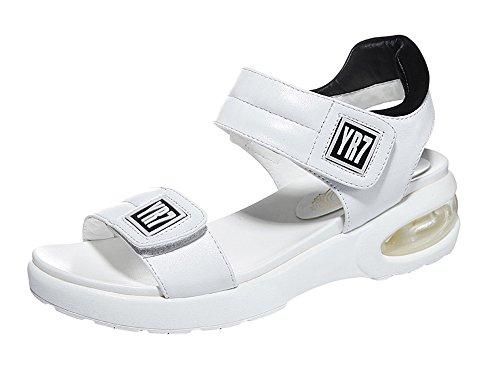fq-real-balck-friday-womens-stylish-velcro-cushion-platform-black-white-pu-sandals-6-ukwhite