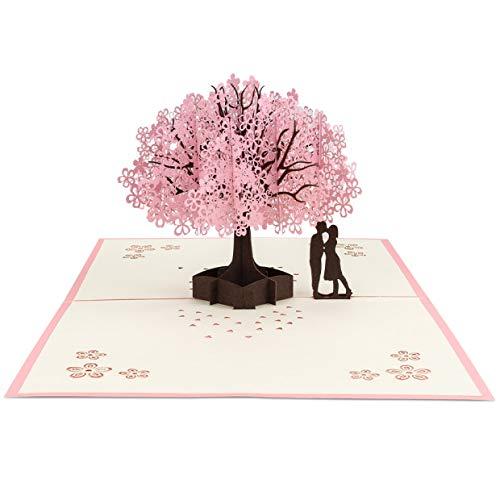 3D Karte, Jooheli 3D Grußkarte Pop up Hochzeitskarte für die meisten Anlässe,Romantik Faltkarte Valentinstag Karte Wedding Card für Hochzeitstag,Geschenke zur Hochzeit,Geburtstag,1Stück Kirschblüte