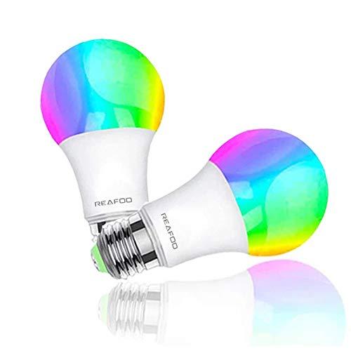 REAFOO Ampoule Connectée WiFi Intelligente 9W 900lm LED Smart Ampoules Compatible Avec Alexa Echo Google Home, Ampoule E27 RGB+W couleur Lumière Télécommande à minuterie par SmartLife Tuya APP (2Pack)
