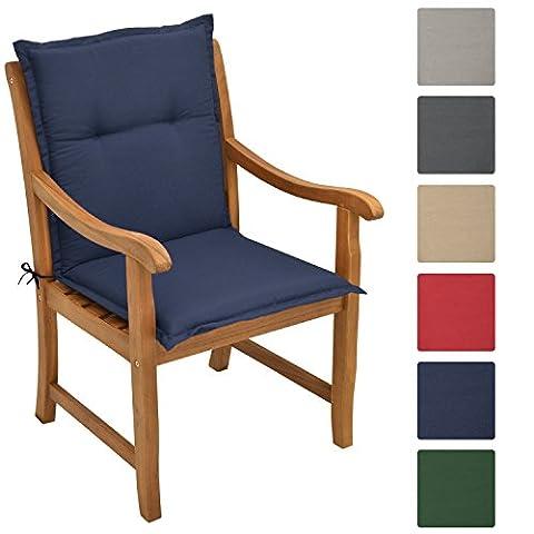 Beautissu Beautissu Matelas Coussin pour chaise fauteuil de jardin terrasse Loft NL 100x50x6cm - Bleu foncé