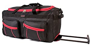 KS-100 27INCH BLACK RED Large Size Wheeled Holdall Travel Bag with Trolley Handle