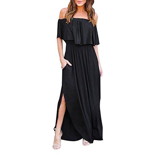 MORETIME Vestiti da Sposa Corti, Womens off The Spalla Boho Dress Lady Beach Estate Sundrss Maxi Dress (Nero, S)