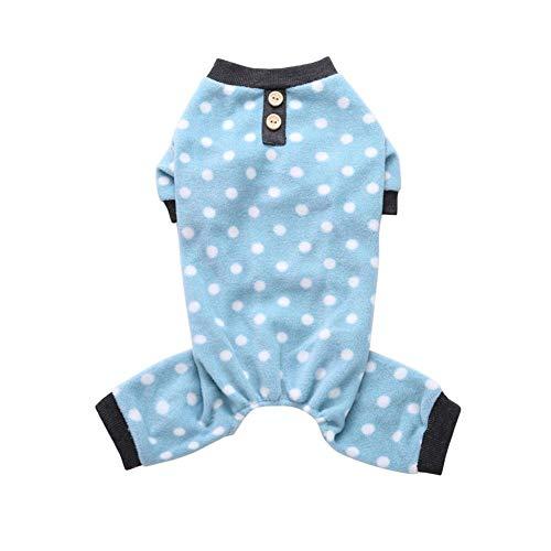 Reputedc.Pijama Azul Pijama Blanco cálido para Mascotas Pijamas Siameses para Perro con Cuatro Patas