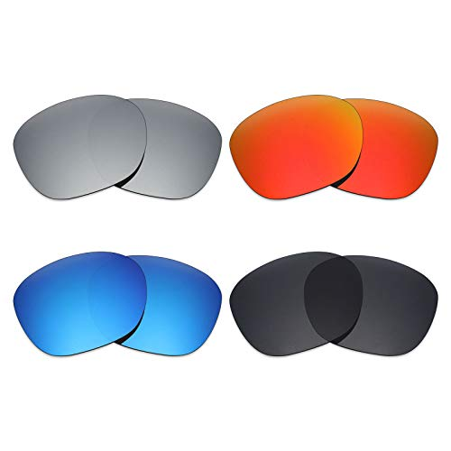 MRY 4Paar Polarisierte Ersatz Gläser für Oakley Garage Rock sunglasses-stealth schwarz/fire rot/ice blau/silber titan 4 Rocks Gläser