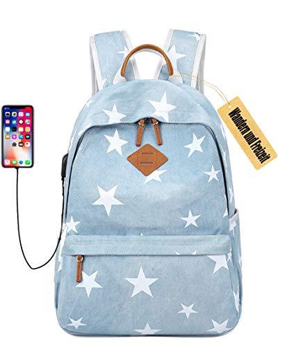 Schule, Stars (Star Drucken Leinwand Haversack Studenten Schule-Beutel-beiläufige Reise Rucksack für Teenage Mädchen (Hellblau (hat USB-Anschluss)))