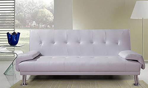 Frizzo divano letto 194x86cm bianco ecopelle 3 posti reclinabile moderno con braccioli | siria