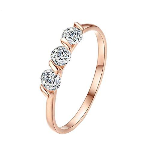 (Frauen Mädchen Rose Gold Ehering Verlobungsring Ringe Mingfa 2018Kristall Diamant Ring Party Schmuck, Legierung, Silber, 6)