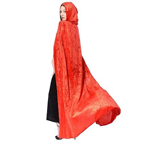 M&A Unisex Capa Poncho Terciopelo Con Capucha Disfraz Cosplay Para Halloween Carnaval Navidad Adultos rojo