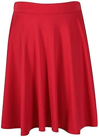 Womens Plus Size Elasticated Waistband Plain Knee Length Full Flared