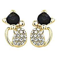 YuzhouGJ Fashion Elegant Women Lady Gold Little Cat Rhinestone Ear Studs Pierced Earrings Cute for Birthday, Valentine