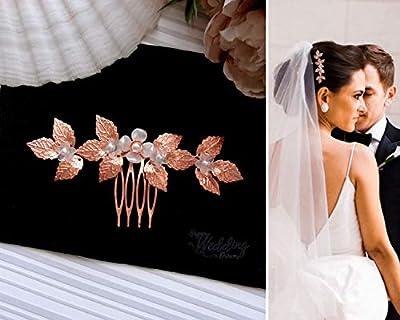 HWD Arsénie Or Rose Bijou Cheveux Peigne Mariage Parure de Tête Coiffure mariée Fleurs Feuilles 3 couleurs