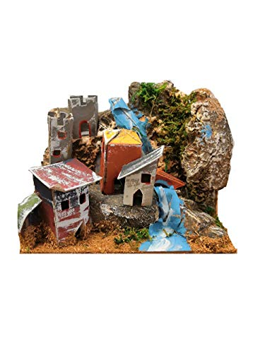 Casa presepe paesaggio nella roccia decorazioni natale casolare montagna