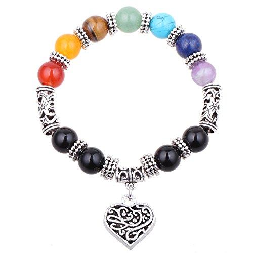 ISHOW Yoga Meditation Natürliche Steinwurzel Sieben Chakra Perle Antikes Silber Hohles Herz Liebe Elastisches Seil Stretch - Armband Lehrer Silber