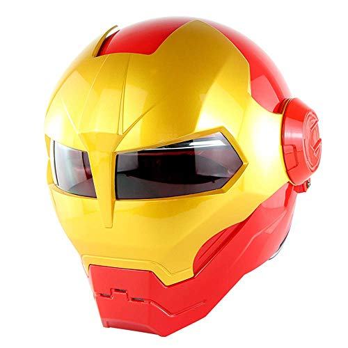 WLJBY Vollgesichtsmotorradhelm Motocross-Helm D.O.T Zertifizierte Persönlichkeit Iron Man Transformers Retro Style Maske Flip Open Motorradhelm,L