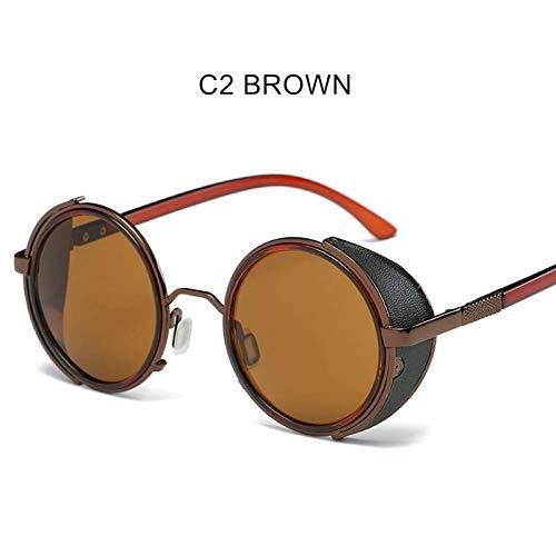 SOOEDHI Steampunk Sonnenbrille Damen Runde Brille Brille Herren Circle Lens Unisex Punk Windproof Sonnenbrille, C2 BrownC2 Brown