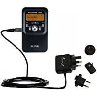 Advanced PURE PocketDAB 1500 compatible International Wall AC 2A Charger - Powerful 10W charging, built with Gomadic Brand TipExchange Technology, for worldwide use