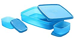 Signoraware Compact Lunch Box Set, 850ml, 3-Pieces, T Blue