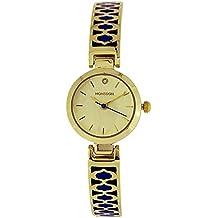La belleza de los monzones de las señoras Color dorado con diseño azul reloj de pulsera correa MO4040