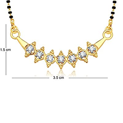 VK Jewels Seven Stone Gold and Rhodium Plated Alloy Mangalsutra for Women made with Cubic Zirconia - MP1148G [VKMP1148G]