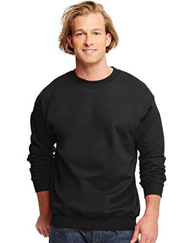 hanes-ultimate-in-cotone-2835-gram-in-pile-crew-black-xx-large