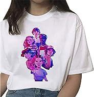 Camiseta Stranger Things Niña, Camiseta Stranger Things Mujer Impresión Manga T-Shirt Impresión Deporte Casual